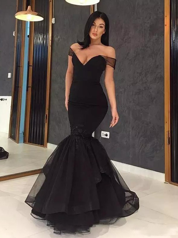 Trumpet/Mermaid Off-the-Shoulder Sleeveless Sweep/Brush Train Tulle Dresses with Ruffles