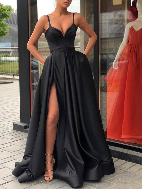 Straps Sleeveless Sweep/Brush Train Satin Dresses with Ruffles
