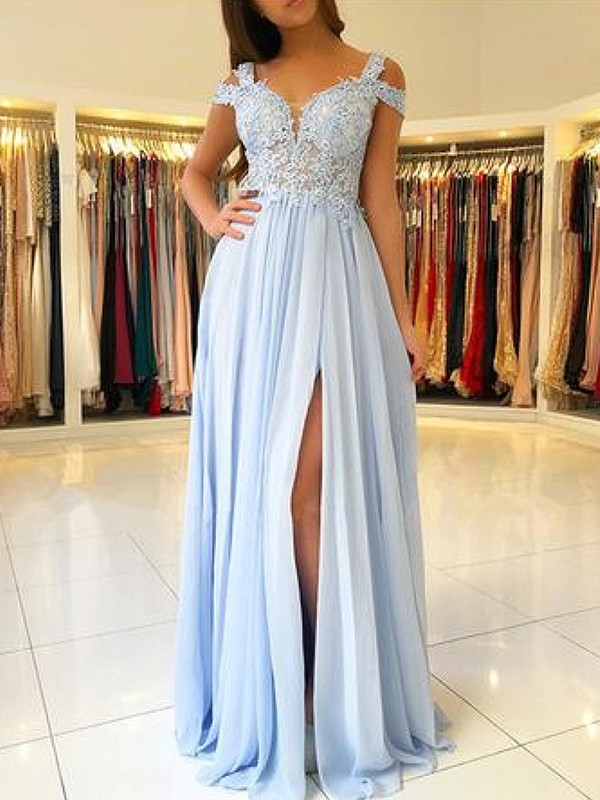 A-Line/Princess Off-the-Shoulder Sleeveless Floor-Length Chiffon Dresses with Applique
