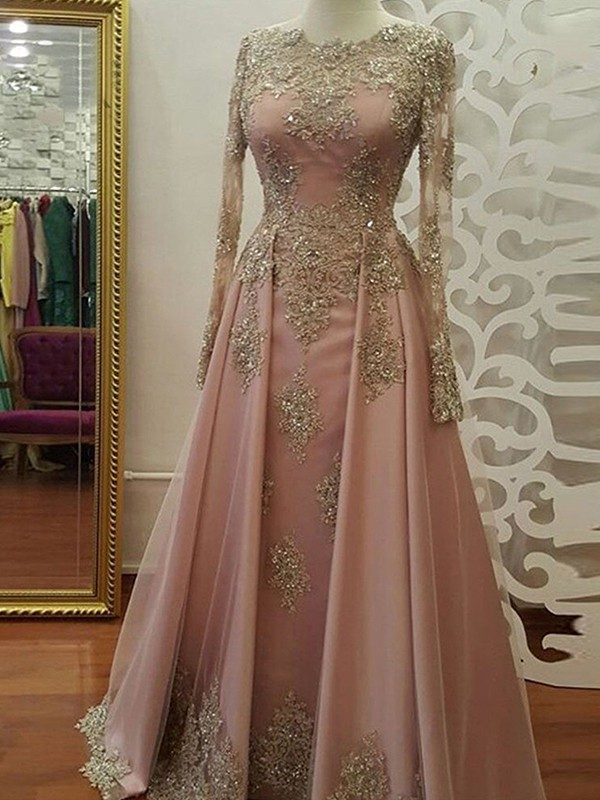 A-Line/Princess Scoop Long Sleeves Floor-Length Tulle Dresses with Applique