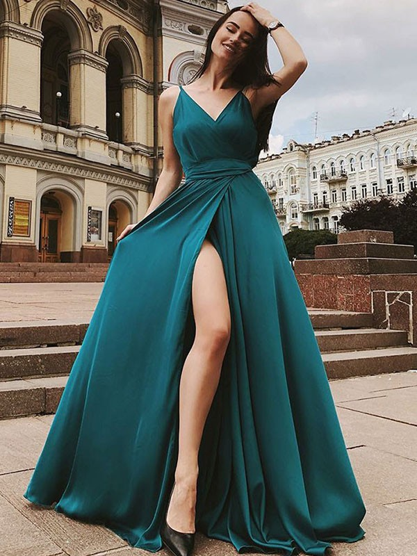 A-Line/Princess Straps Sleeveless Sweep/Brush Train Satin Chiffon Dresses with Ruffles
