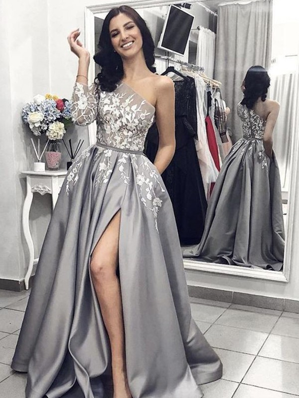 A-Line/Princess One-Shoulder Sleeveless Sweep/Brush Train Satin Dresses with Applique