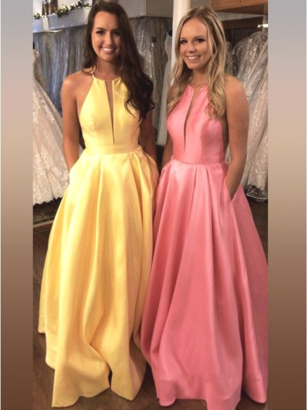 A-Line/Princess Halter Sleeveless Sweep/Brush Train Satin Dresses with Ruffles