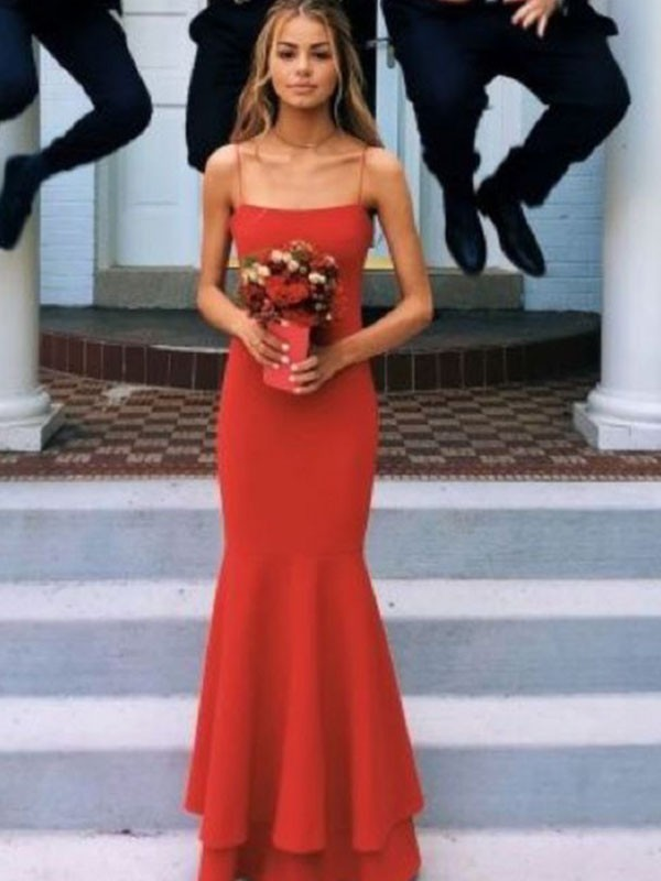 Sheath/Column Spaghetti Straps Sleeveless Floor-Length Satin Dresses with Layers