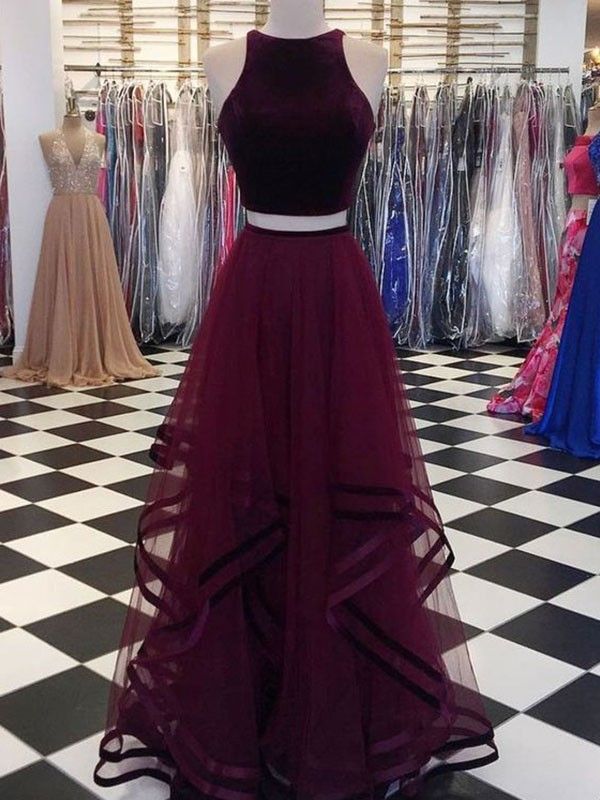 A-Line/Princess Scoop Sleeveless Floor-Length Tulle Dresses with Ruffles