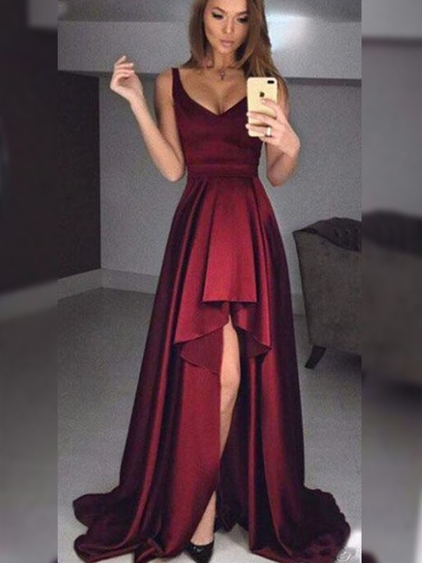 A-Line/Princess Straps Sleeveless Asymmetrical Satin Dresses with Ruffles