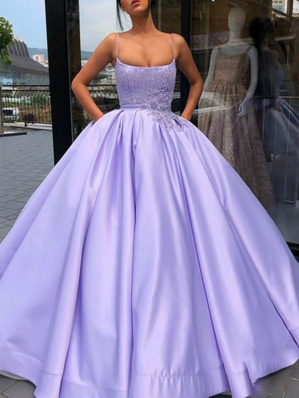 Ball Gown Spaghetti Straps Sleeveless Floor-Length Satin Dresses with Applique