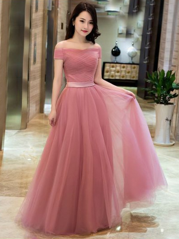 A-Line/Princess Off-the-Shoulder Sleeveless Floor-Length Tulle Dresses with Ruffles