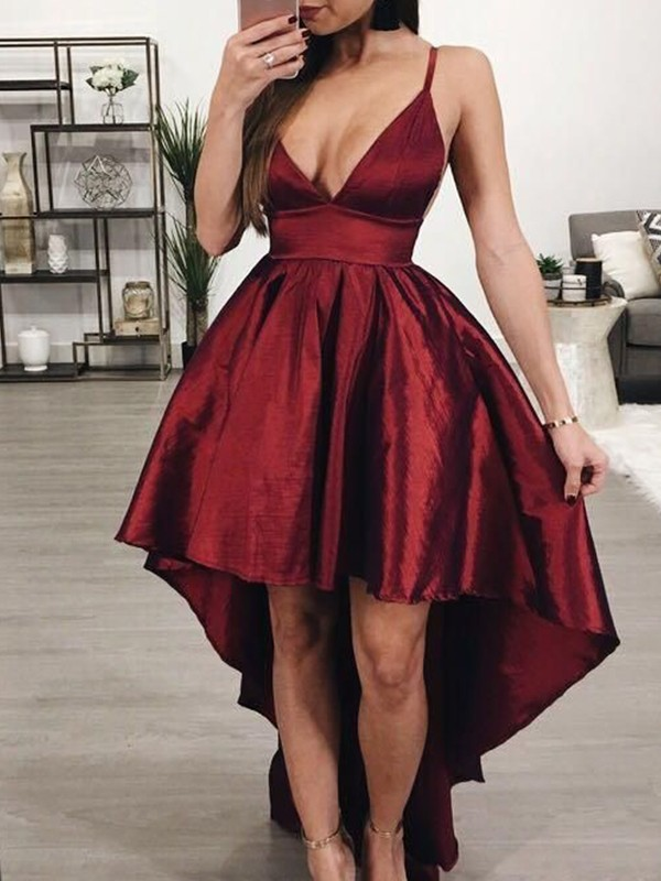A-Line/Princess Satin Ruffles Spaghetti Straps Sleeveless Asymmetrical Homecoming Dress