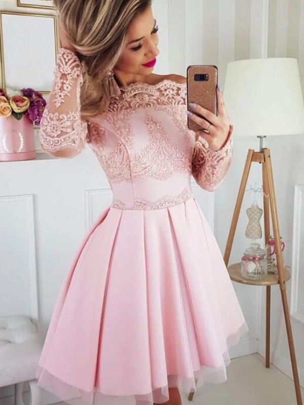 A-Line/Princess Satin Lace Off-the-Shoulder Long Sleeves Short/Mini Cocktail Dresses