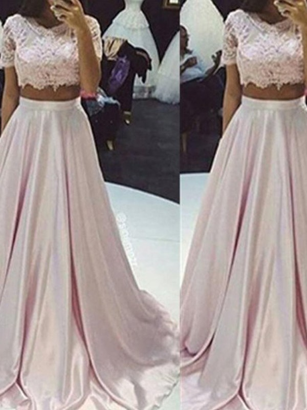 A-Line/Princess Scoop Sleeveless Floor-Length Taffeta Dresses with Lace