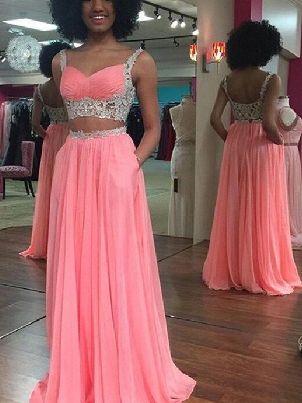 A-Line/Princess Straps Sleeveless Floor-Length Chiffon Dresses with Lace