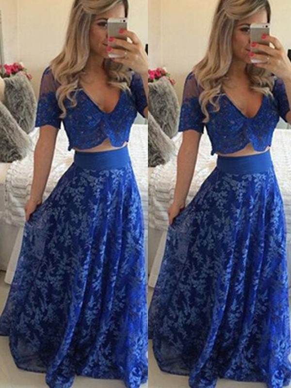 A-Line/Princess V-neck Short Sleeves Floor-Length Lace Dresses