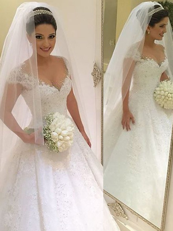 Ball Gown V-neck Sleeveless Floor-Length Tulle Wedding Dresses with Beading