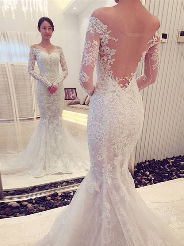 Trumpet/Mermaid Off-the-Shoulder Long Sleeves Sweep/Brush Train Lace Wedding Dresses