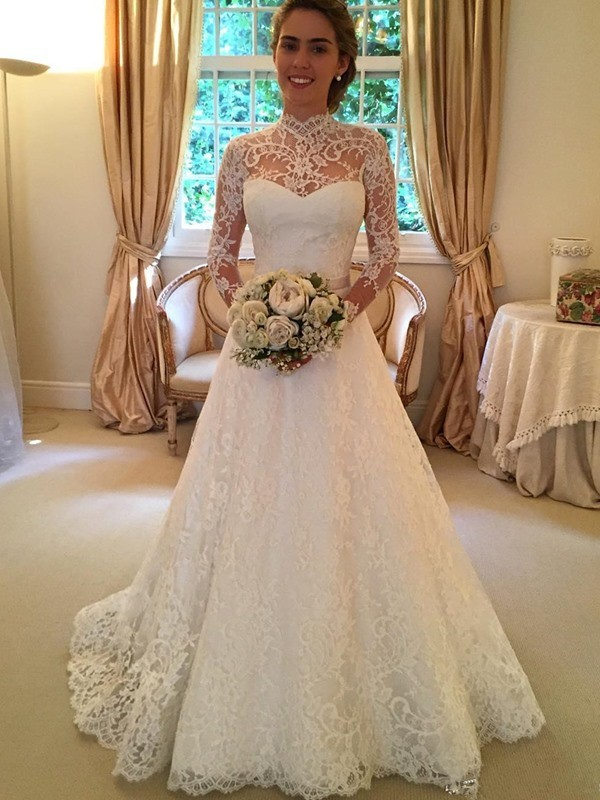 Ball Gown High Neck Long Sleeves Court Train Lace Wedding Dresses with Lace