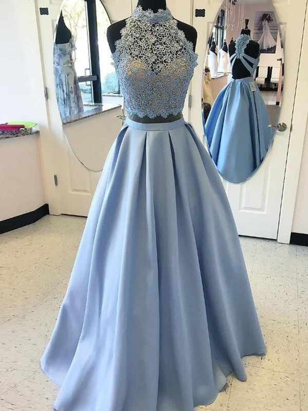 Ball Gown High Neck Sleeveless Floor-Length Satin Dresses with Applique