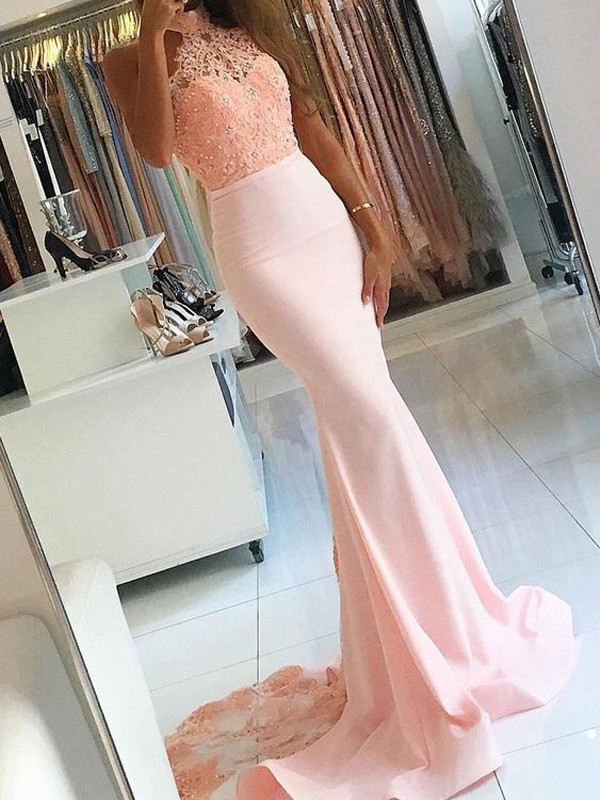 Trumpet/Mermaid High Neck Sleeveless Sweep/Brush Train Satin Dresses with Lace