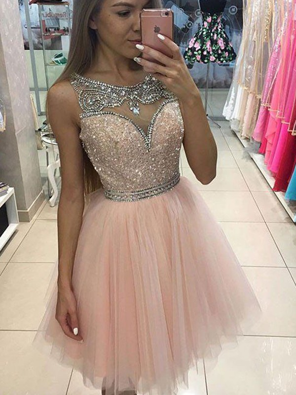 A-Line/Princess Scoop Sleeveless Short/Mini Tulle Dresses with Beading