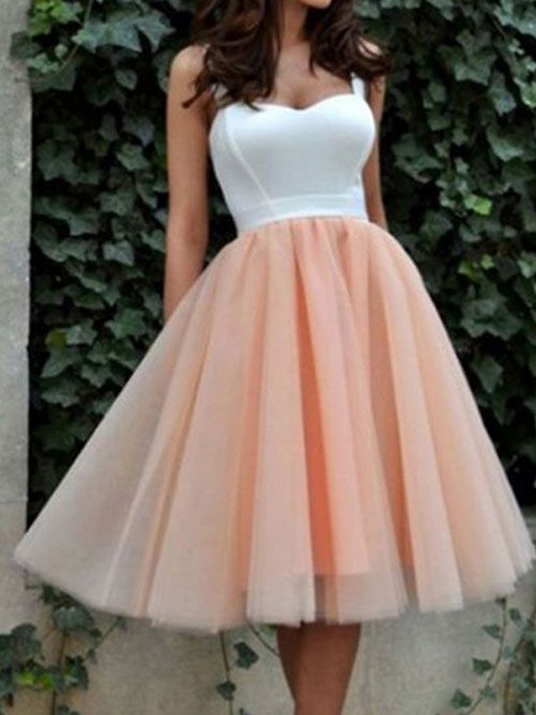A-Line/Princess Sweetheart Sleeveless Knee-Length Tulle Dresses
