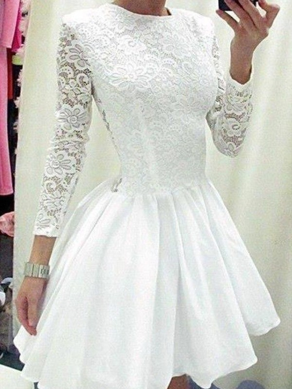 A-Line/Princess Scoop Long Sleeves Short/Mini Chiffon Dresses with Lace