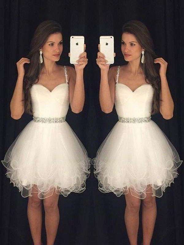 A-Line/Princess Sweetheart Sleeveless Short/Mini Tulle Dresses with Beading