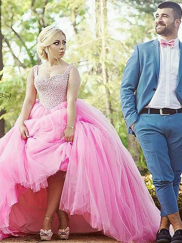 Ball Gown Sweetheart Sleeveless Sweep/Brush Train Tulle Dresses with Pearls