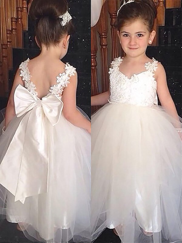 Ball Gown Sweetheart Sleeveless Floor-Length Tulle Flower Girl Dresses with Bowknot