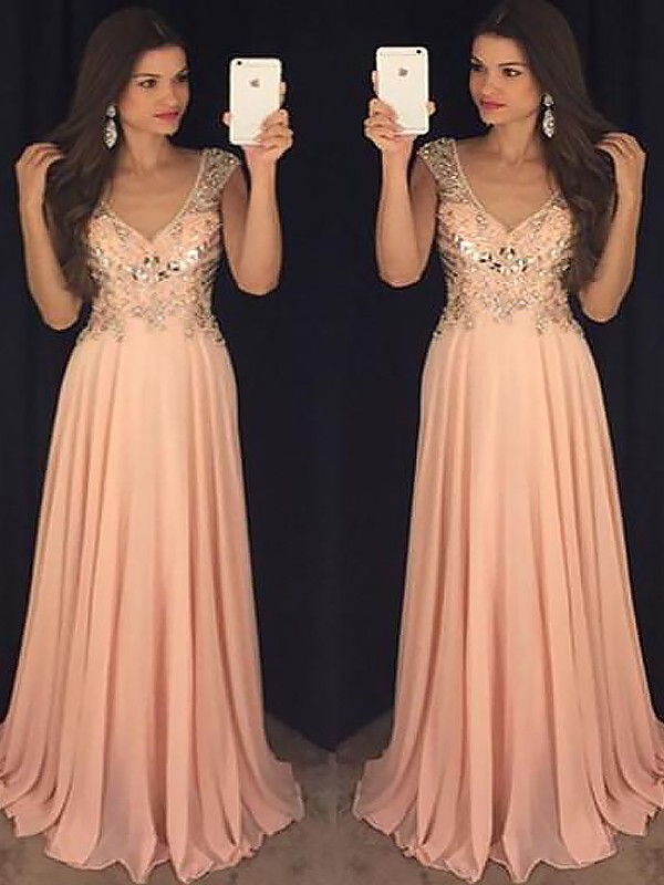 A-Line/Princess V-neck Sleeveless Floor-Length Chiffon Dresses with Paillette