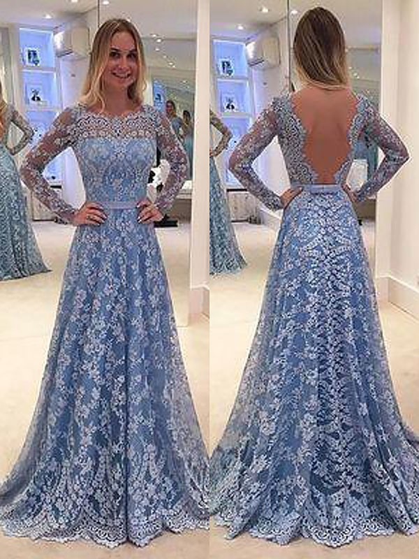 A-Line/Princess Bateau Long Sleeves Floor-Length Lace Dresses with Ruffles