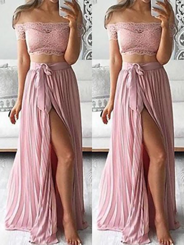 A-Line/Princess Off-the-Shoulder Sleeveless Floor-Length Chiffon Dresses with Lace
