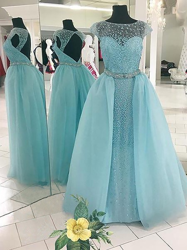 Ball Gown Bateau Sleeveless Floor-Length Tulle Dresses with Beading