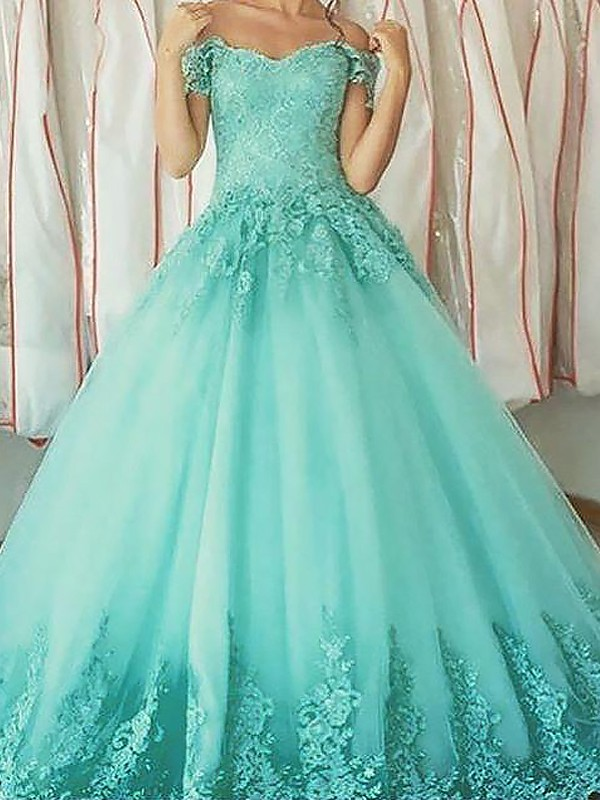 Ball Gown Off-the-Shoulder Sleeveless Floor-Length Tulle Dresses with Applique