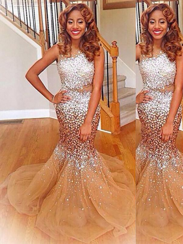 Trumpet/Mermaid Bateau Sleeveless Sweep/Brush Train Tulle Dresses with Sequin