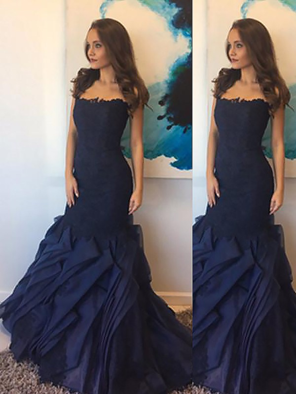 Trumpet/Mermaid Strapless Sleeveless Floor-Length Taffeta Dresses with Lace