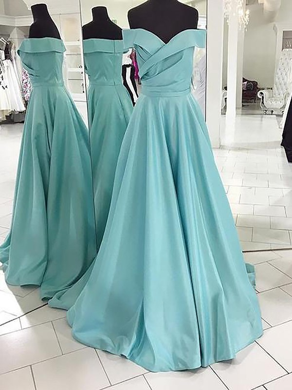 A-Line/Princess Off-the-Shoulder Sleeveless Sweep/Brush Train Satin Ruched Dresses