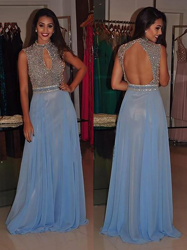 A-Line/Princess High Neck Sleeveless Sweep/Brush Train Chiffon Dresses with Beading