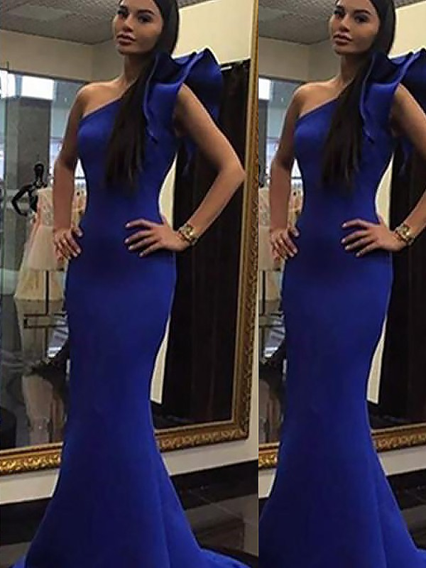 Trumpet/Mermaid One-Shoulder Sleeveless Sweep/Brush Train Satin Dresses with Ruffles