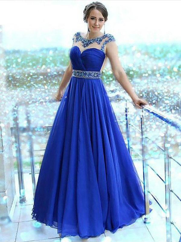 A-Line/Princess Bateau Sleeveless Floor-Length Chiffon Dresses with Beading