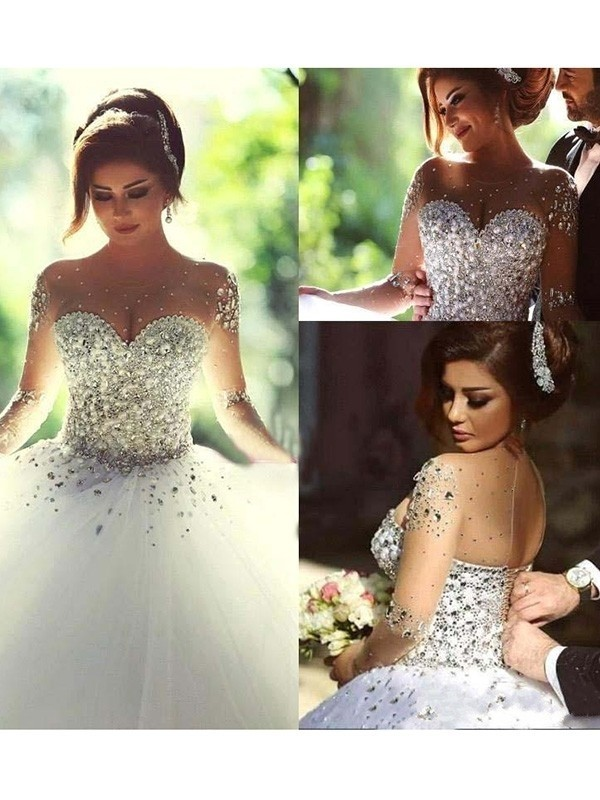 Ball Gown Long Sleeves Scoop Court Train Beading Tulle Wedding Dresses