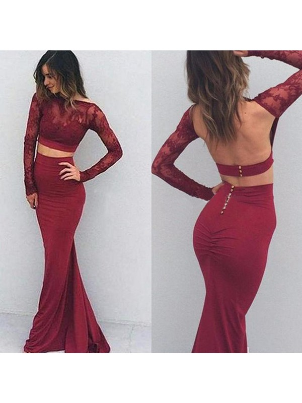 Trumpet/Mermaid Bateau Long Sleeves Floor-Length Spandex Dresses with Applique