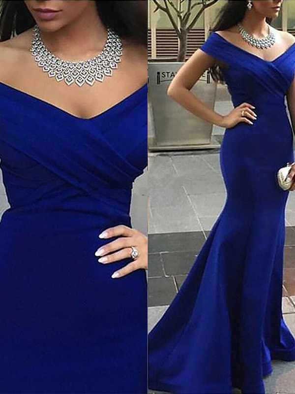 Trumpet/Mermaid Off-the-Shoulder Sleeveless Sweep/Brush Train Satin Dresses