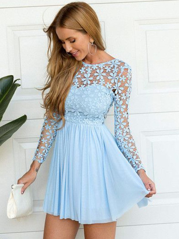 A-Line/Princess Scoop Long Sleeves Short/Mini Chiffon Homecoming Dresses with Lace