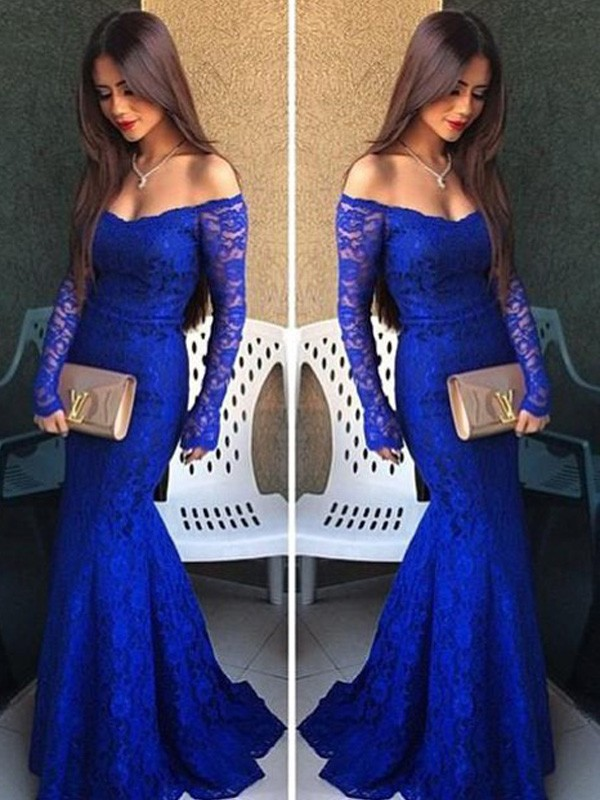 Trumpet/Mermaid Off-the-Shoulder Long Sleeves Sweep/Brush Train Lace Dresses with Lace