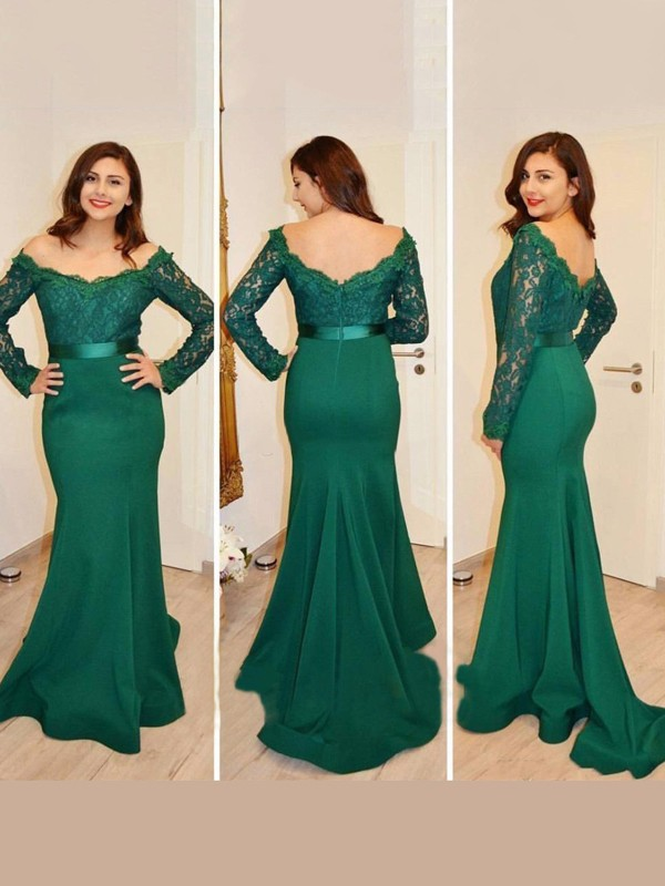 Trumpet/Mermaid Off-the-Shoulder Long Sleeves Floor-Length Satin Dresses with Applique