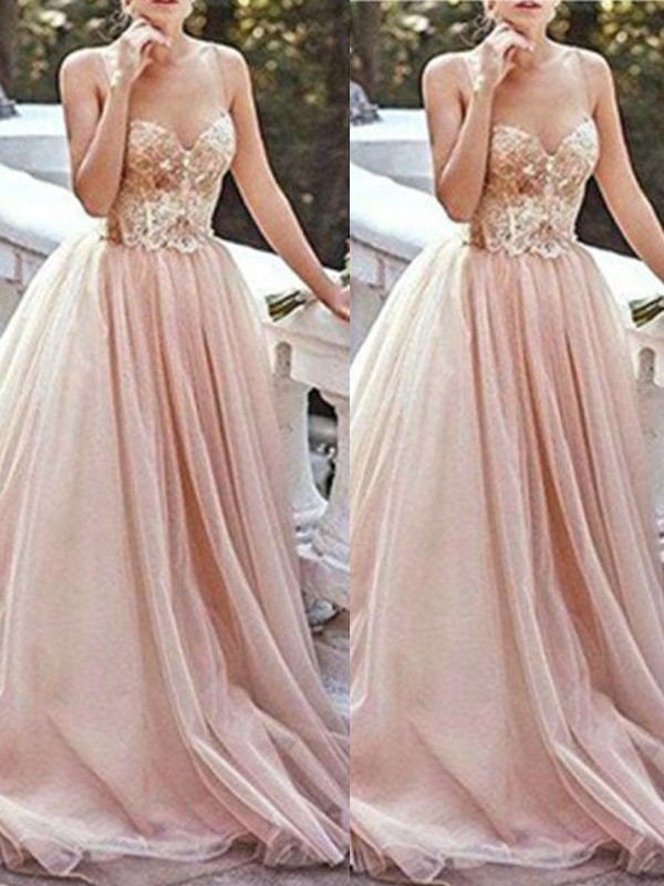 A-Line/Princess Sweetheart Sleeveless Sweep/Brush Train Tulle Dresses with Beading