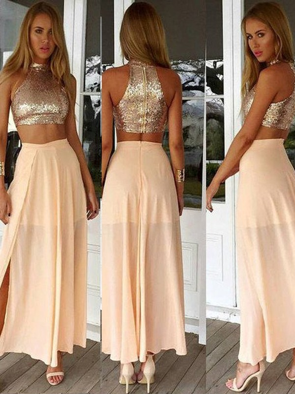 A-Line/Princess High Neck Sleeveless Ankle-Length Chiffon Dresses with Sequin