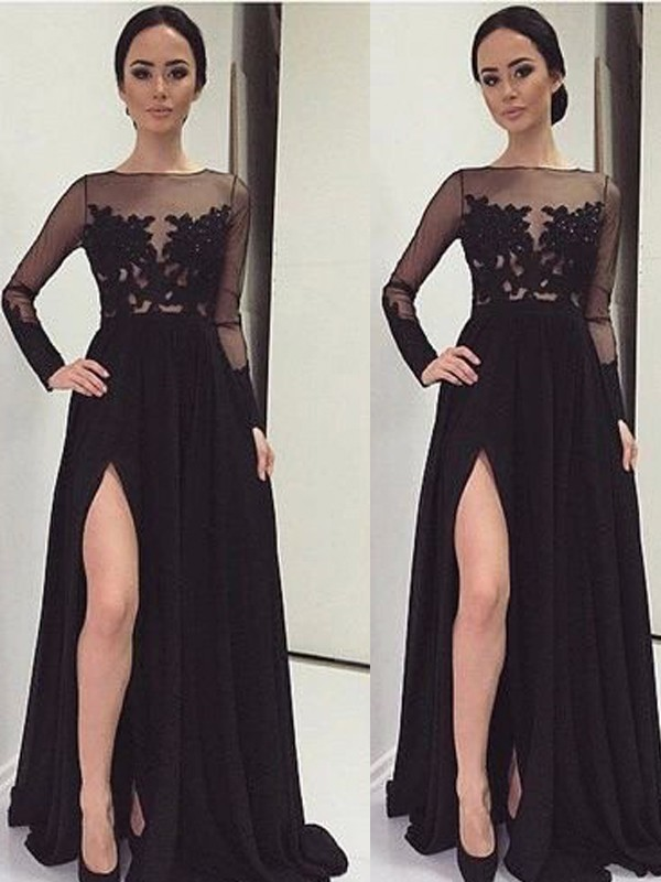 A-Line/Princess Bateau Long Sleeves Floor-Length Chiffon Dresses with Lace