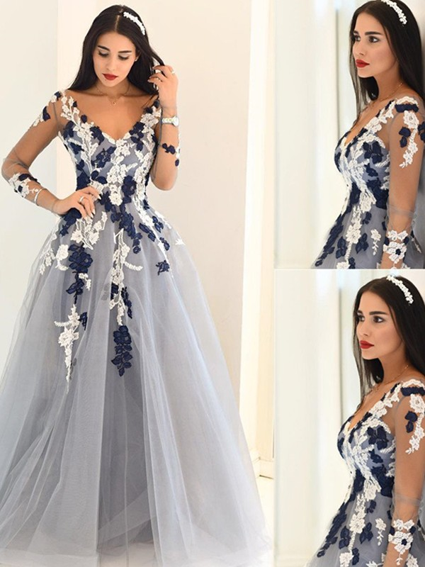 A-Line/Princess V-neck Long Sleeves Floor-Length Tulle Dresses with Applique