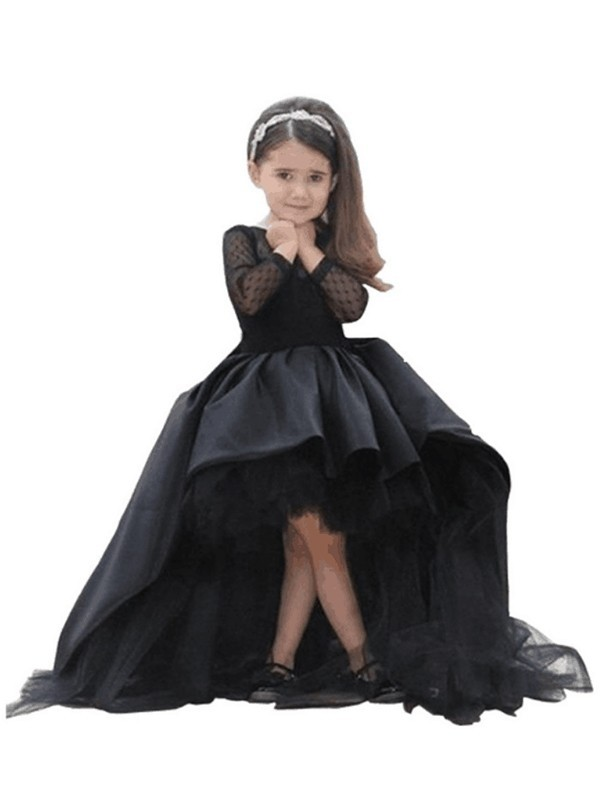 Ball Gown Scoop Long Sleeves Floor-Length Satin Flower Girl Dresses with Sash/Ribbon/Belt